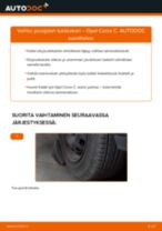Kuinka vaihtaa jousijalan tukilaakeri eteen Opel Corsa C-autoon – vaihto-ohje