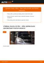 Výmena Olejový filter OPEL ZAFIRA B (A05): tutorial pdf