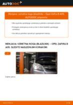 Kako zamenjati in prilagoditi Blažilnik OPEL ZAFIRA: vodnik pdf