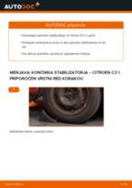 Kako zamenjati avtodel končnik stabilizatorja spredaj na avtu Citroen C3 1 – vodnik menjave