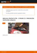 Kako zamenjati avtodel zračni filter na avtu Citroen C3 1 – vodnik menjave