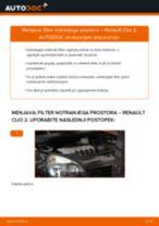 Kako zamenjati avtodel filter notranjega prostora na avtu Renault Clio 2 – vodnik menjave