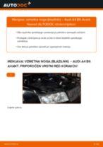Kako zamenjati avtodel vzmetna noga (blazilnik) spredaj na avtu Audi A4 B6 Avant – vodnik menjave