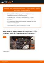 Kako zamenjati avtodel filter notranjega prostora na avtu Opel Corsa C – vodnik menjave