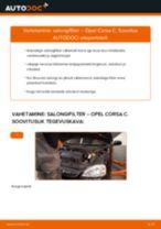 Automehaaniku soovitused, selleks et vahetada välja OPEL Opel Corsa S93 1.2 i 16V (F08, F68, M68) Salongifilter