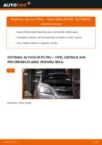 Kaip pakeisti Opel Zafira B A05 variklio alyvos ir alyvos filtra - keitimo instrukcija
