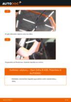 Kaip pakeisti Opel Zafira B A05 valytuvų: priekis - keitimo instrukcija