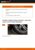Kaip pakeisti ir sureguliuoti Ašies montavimas AUDI A4: pdf pamokomis