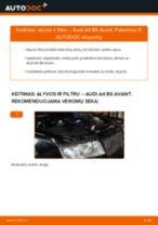 Kaip pakeisti Audi A4 B6 Avant variklio alyvos ir alyvos filtra - keitimo instrukcija