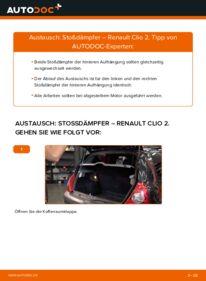 Wie der Wechsel durchführt wird: Stoßdämpfer 1.2 Renault Clio 2 tauschen