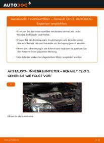 Wie der Wechsel durchführt wird: Innenraumfilter 1.2 Renault Clio 2 tauschen