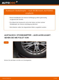 Wie der Wechsel durchführt wird: Stoßdämpfer 1.9 TDI Audi A4 B6 Avant tauschen