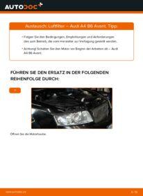 Wie der Wechsel durchführt wird: Luftfilter 1.9 TDI Audi A4 B6 Avant tauschen