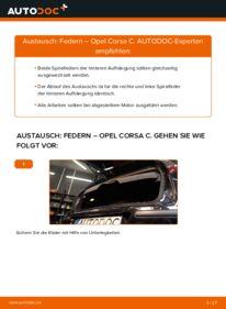 Wie der Wechsel durchführt wird: Federn 1.2 (F08, F68) Opel Corsa C tauschen