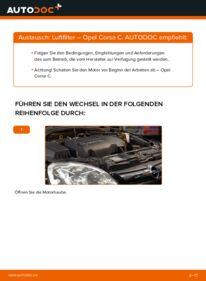 Wie der Wechsel durchführt wird: Luftfilter 1.2 (F08, F68) Opel Corsa C tauschen