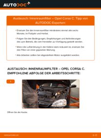 Wie der Wechsel durchführt wird: Innenraumfilter 1.2 (F08, F68) Opel Corsa C tauschen