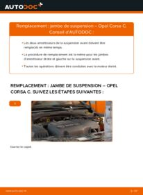 Comment effectuer un remplacement de Amortisseurs sur 1.2 (F08, F68) Opel Corsa C