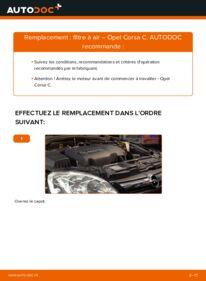 Comment effectuer un remplacement de Filtre à Air sur 1.2 (F08, F68) Opel Corsa C
