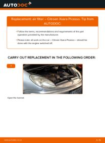 How to carry out replacement: Air Filter on 2.0 HDi Citroen Xsara Picasso