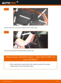 How to carry out replacement: Wiper Blades on 1.9 CDTI (M75) Opel Zafira B