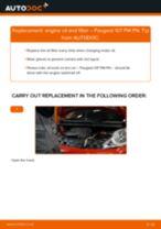 PDF replacement tutorial: Oil filter PEUGEOT 107 Hatchback (PM_, PN_)