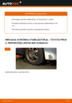 Kako zamenjati avtodel končnik stabilizatorja spredaj na avtu Toyota Prius 2 – vodnik menjave