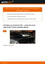 Kaip pakeisti ir sureguliuoti Varikliukas, priekinio stiklo valytuvai LEXUS RX: pdf pamokomis