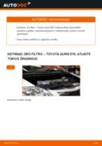 Kaip pakeisti Toyota Auris E15 oro filtro - keitimo instrukcija