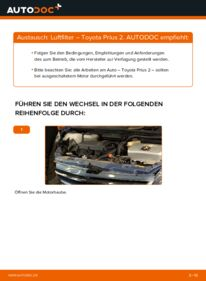 Wie der Wechsel durchführt wird: Luftfilter 1.5 (NHW2_) Toyota Prius 2 tauschen
