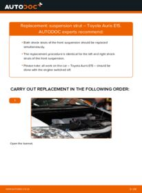 How to carry out replacement: Shock Absorber on 1.4 D-4D (NDE150_) Toyota Auris E15