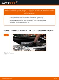 How to carry out replacement: Spark Plug on 1.4 D-4D (NDE150_) Toyota Auris E15