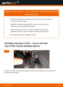 Kaip atlikti keitimą: 2.0 D Volvo v50 mw Oro filtras, keleivio vieta