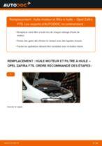 Comment changer : huile moteur et filtre huile sur Opel Zafira F75 - Guide de remplacement