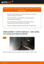 Comment changer : filtre d'habitacle sur Opel Zafira F75 - Guide de remplacement