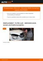 Comment changer et régler Filtre à Air MERCEDES-BENZ B-CLASS : tutoriel pdf