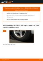 Changing Anti Roll Bar Links BMW 5 SERIES: workshop manual