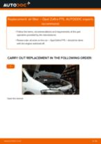 PDF replacement tutorial: Air filter OPEL Zafira A (T98)
