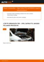 Byta bränslefilter på Opel Zafira F75 – utbytesguide