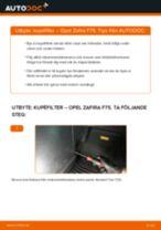 Byta kupéfilter på Opel Zafira F75 – utbytesguide