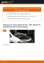 Kako zamenjati avtodel motorna olja in filter na avtu Opel Zafira F75 – vodnik menjave