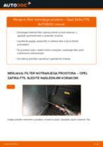 Kako zamenjati avtodel filter notranjega prostora na avtu Opel Zafira F75 – vodnik menjave