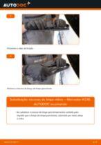 Como mudar escovas do limpa vidros da parte traseira em Mercedes W245 - guia de substituição