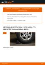 Kaip pakeisti Opel Zafira F75 amortizatorių: galas - keitimo instrukcija