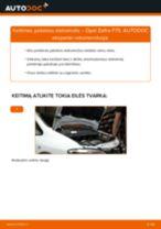 Kaip pakeisti Opel Zafira F75 pakabos statramstis: priekis - keitimo instrukcija