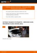 Kaip pakeisti Mercedes W245 pakabos statramstis: priekis - keitimo instrukcija