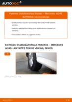 Kaip pakeisti Mercedes W245 stabilizatoriaus traukės: galas - keitimo instrukcija