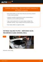 Kaip pakeisti Mercedes W245 salono filtro - keitimo instrukcija