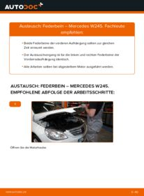 Wie der Wechsel durchführt wird: Stoßdämpfer B 180 CDI 2.0 (245.207) Mercedes W245 tauschen