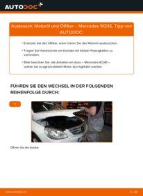 Wie der Wechsel durchführt wird: Ölfilter B 180 CDI 2.0 (245.207) Mercedes W245 tauschen