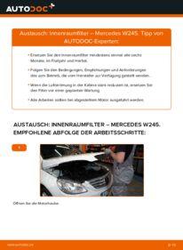 Wie der Wechsel durchführt wird: Innenraumfilter B 180 CDI 2.0 (245.207) Mercedes W245 tauschen